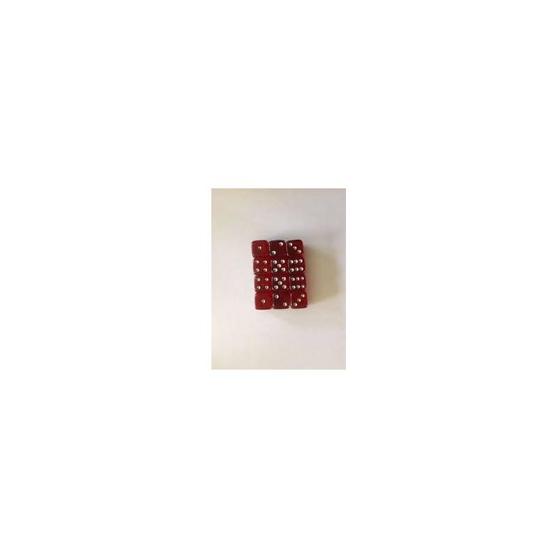 SET D6 TRASPARENTI SMALL - ROSSO/ARGENTO